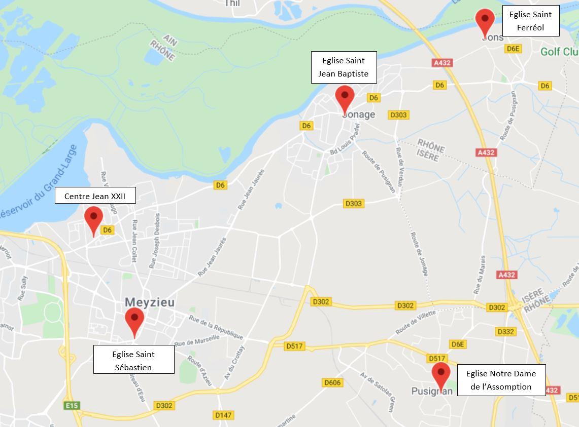 Carte des églises de la paroisse